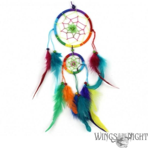 Bright Rainbow Multi Coloured Dream catcher 9cm
